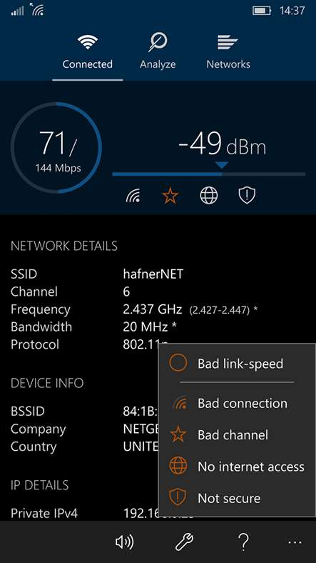 WiFi Analyzer для смартфонов Windows Phone